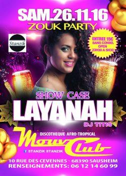Au Mouv Club: Layanah en showcase – Agenda soirées Antillaises Alsace 26 Novembre