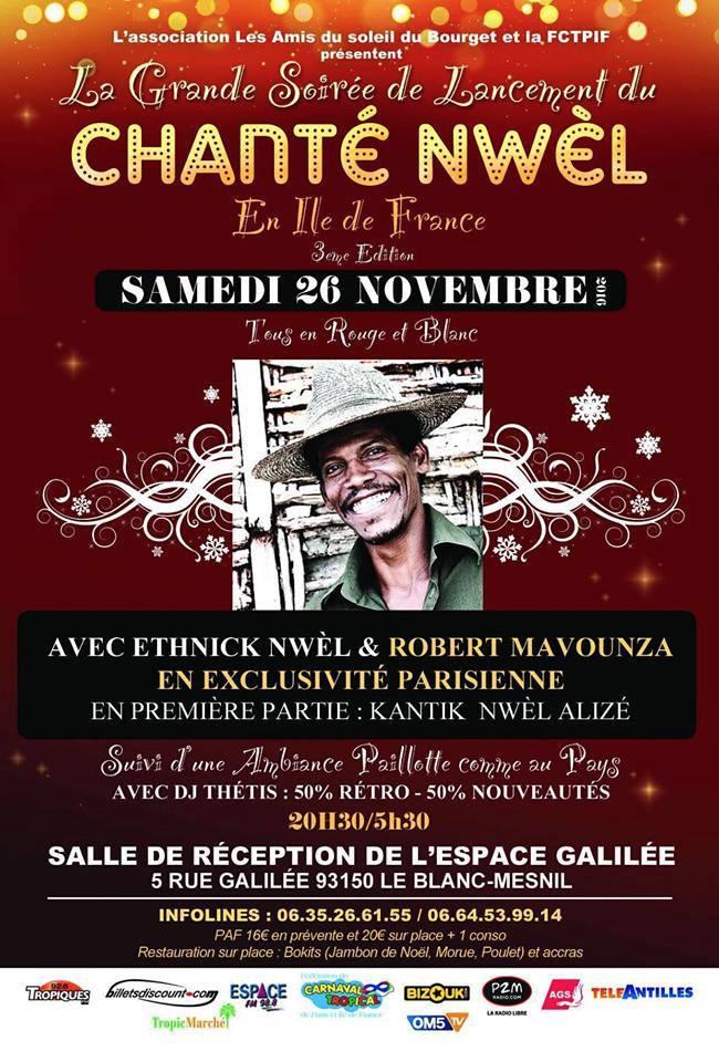 chante noel antillais a paris 2018 La Grande Soirée de Lancement : Chanté Nwel en Ile de France 3ème  chante noel antillais a paris 2018