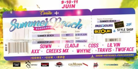 3 soirées !!! SUMMER BEACH DE BORDEAUX – Du 9 au 11 juin Agenda soirées antillaises Bordeaux