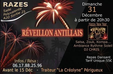 Réveillon Antillais – Repas Dansant Animé par DJ CHRIS – Razes (87)