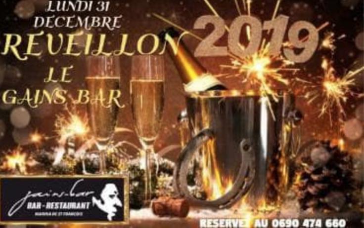 Pour le 31 décembre le Gains Bar vous attend pour sa soirée Spéciale RÉVEILLON – GUADELOUPE