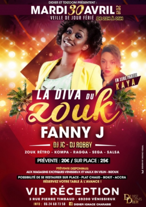 VIP RECEPTION : FANNY J – LYON SOIREE ANTILLAISE LE 30 AVRIL