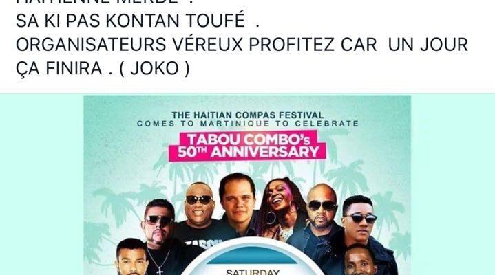 Joko n'aime pas l'idée d'un Festival Compas en Martinique