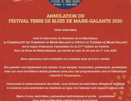 Annulations en cascade des Festivals. Terre de Blues annulé.